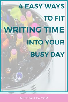 4 Easy Ways To Fit Writing Time Into Your Busy Day - Misfit Alexa | We all have busy lives, and if we're not a bestselling novelist, it can be difficult to find time to write daily between different commitments. But today, I've put together a list of four simple ways to do just that! Click through to check them out!