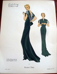 Another gorgeous picture from the 1930's. This is a lame garment where it's flat fabric. This a scoop back.