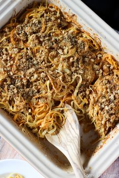 Spiralized Root Vegetable Casserole with turnip, rutabaga, and sweet potato noodles in a creamy, vegan alfredo sauce. A hearty, comforting main meal. Veggetti Recipes, Zoodle Recipes, Spiralizer Recipes, Veggie Recipes, Cooking Recipes, Healthy Recipes, Vegetable Spiralizer, Meatless Recipes, Yummy Recipes