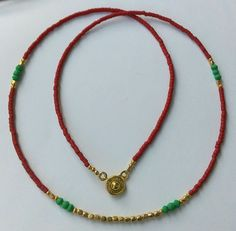 Afghan Natural Malachite, Brown Red Glass Gold Plated Tiny Seed Beads Necklace #Handmade #StrandString