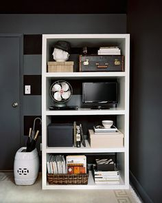 An organized shelf!  Keep it from looking cluttered by using all neutral colors.