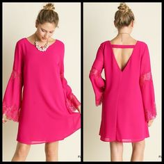 DEAL OF THE DAY!!BELL SLEEVE FUSCHIA DRESS Stunning Dress in a vibrant Fuschia. It features bell sleeves with lace, & a lovely v-neck back. It has 2 layers, so is not see through. The picture doesn't do this justice! Great for a date night. Sizes S, M, L. Cotton/Polyester chiffon material. No trades. Price is firm unless bundled. Southern Charm Boutique Dresses