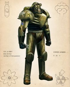 Retro Power Armor Colors by calebcleveland on DeviantArt Fallout Lore, Fallout Facts, Fallout Fan Art, Fallout Concept Art, Fallout Weapons, Fallout Power Armor, Science Fiction, Fallout Cosplay, Sci Fi Armor