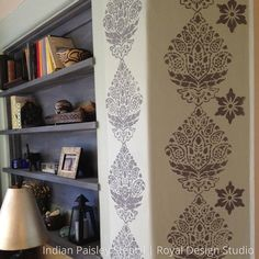 Indian Paisley Damask Stencils adds a sweet paisley pattern to painted accent walls. This damask flower pattern creates a wallpaper effect without ruining your