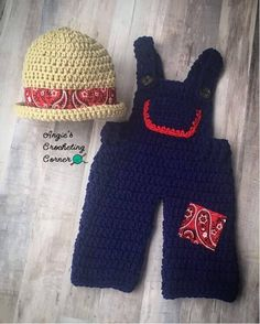 Newborn Farmer Outfit, Crochet Baby Farmer Outfit, Baby Farmer Photoprop, Baby Farmer Bandana Outfit, Baby Overalls and Hat, Farmer Overalls by AngiesCrocheting on Etsy https://www.etsy.com/listing/562484880/newborn-farmer-outfit-crochet-baby