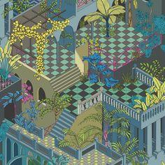 Cole & Son - Miami Wallpaper - Navy & Pink ...