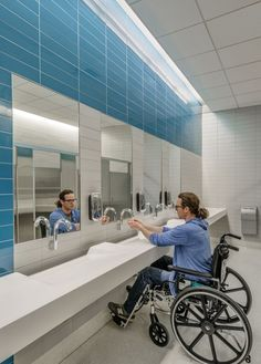 Gallery of Spaulding Hospital / Perkins+Will - 8 Spaulding Rehabilitation Hospital, Charlestown MA : Perkins + Will : Restroom Hospital Architecture, Healthcare Architecture, Interior Architecture, Medical Design, Wc Public, Commercial Toilet, Restroom Design, Public Bathrooms, Arquitetura