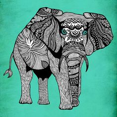 Poster Print 8x8  Tribal Turquoise Elephant  by PomGraphicDesign, $17.00
