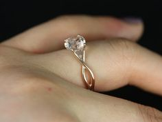 Just with another color stone- 14kt Rose Gold Round Morganite Twisted Engagement Ring (Other metals and stone options available)
