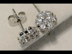 Sold Ct Diamond And 18 White Gold Cer Earrings Vintage Circa 1990