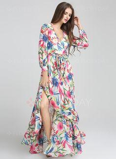 Vestidos - $39.26 - Chifón Floral Manga larga Hasta los tobillos De época…