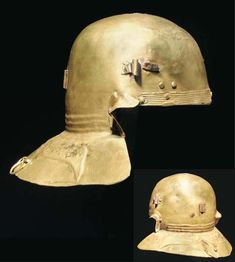 Roman brass Weisenau helmet with multiple owner's inscriptions on the neck guard, formerly Axel Guttmann Collection, currently in North American private collection. Soldier Helmet, Helmet Armor, Suit Of Armor, Old Warrior, Roman Helmet, Roman Armor, Ancient Armor, Roman Legion, Knight In Shining Armor