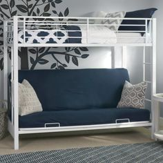 Sunrise Twin over Futon Bunk Bed - White - The Sunrise Twin over Futon Bunk Bed - White is a transforming treasure. Constructed from amazingly tough steel, the frame will never, ever (e...