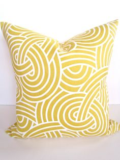 Gold PILLOW 18 x 18 Throw Pillow Cover 18x18 YELLOW  GOLD Decorative Throw Pillows Swirl Contemporary Home decor Home and Living Housewares by SayItWithPillows on Etsy https://www.etsy.com/listing/122838115/gold-pillow-18-x-18-throw-pillow-cover