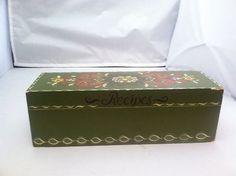 Beautiful double recipe box. Rosemale rosmaling