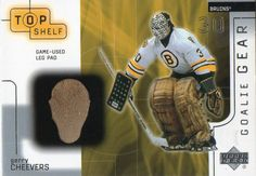 2001-02 UD Top Shelf Gerry Cheevers Game Used Leg Pads Boston Bruins #BostonBruins