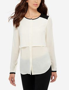 Layered Contrast Yoke Blouse from THELIMITED.com