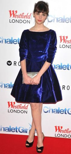 Felicity Jones Bangs Blue Velvet Dress