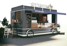 food truck design for ottolina cafe shop, it looks yami yami, can't waitting - * Mobile commerce * - Design Cafe Shop Design, Kiosk Design, Cafe Interior Design, Café Container, Container Coffee Shop, Pizza Food Truck, Coffee Food Truck, Food Truck Menu, Mobile Food Cart
