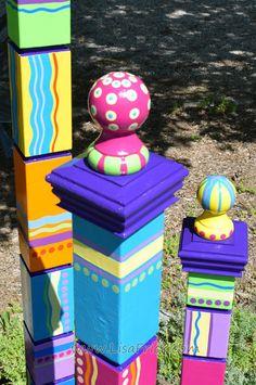 Garden Totem Garden Totems Garden Art Garden by LisaFrick on Etsy Art Totem, Peace Pole, Art Français, Bright Color Schemes, Garden Totems, Paint Supplies, Tropical Colors, Diy Garden Projects, Garden Crafts
