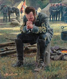 """Stonewall Jackson at prayer. Well, no wonder history books portray them as the """"bad guys"""" of the Civil War!"""