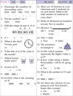 Mental Math Grade 3 Day 27
