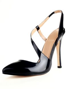 Grace Black Pointed Toe Patent Suede Woman's High Heels