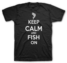Keep Calm Fish on Funny Tshirt Hunting Tshirt fishing shirt camping, Charcoal, Large   shopswell
