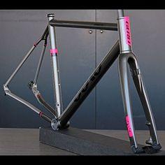 """One of the latest Praemio R Disc frame sets to roll out. Full custom, titanium road disc. #gurucycles #bikes"""