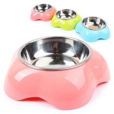 Flower Design dog pet cat feeding bowl dog puppy food water feeder bowl Stainless steel + plastic dog food container dispenser