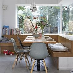 pine kitchen or dining banquette