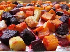 Healthy and delicious Oven Roasted Root Vegetables. Easy and colorful vegetable side dish. Vegan, pareve, gluten free, kosher for Passover. Oven Roasted Root Vegetables, Root Veggies, Plant Based Recipes, Vegetable Recipes, Scones, Cooking Recipes, Healthy Recipes, Alkaline Recipes, Diet Recipes