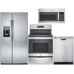 GE Appliances 4-Piece Kitchen Package with Electric Range in Stainless Steel