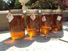 Sun tea brewed in the sun. Just 1tea bag per quart jar. Add sugar, or not to taste. Chill and grab a glass as needed.