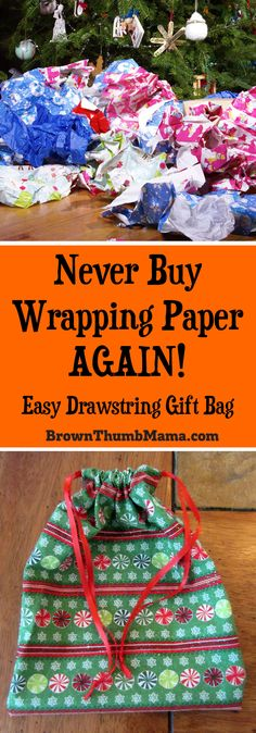 Never buy wrapping paper again! #Sew this easy drawstring gift bag and save time, money, and the environment. Great use for #fabric scraps or fat quarters.