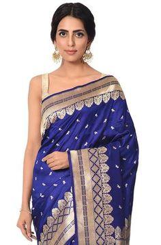 Midnight blue pure katan tanchoi saree with delicate mynah motifs and rich border Banarasi Sarees, Silk Sarees, Katan Saree, Lakme Fashion Week, Party Wear Sarees, Woman Clothing, Saris, Exclusive Collection, Indian Sarees