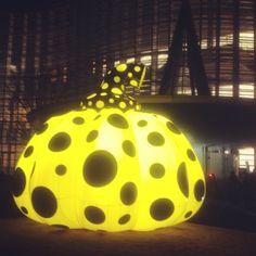 Giant glowing Kusama pumpkin at roppongi art night