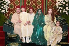 royalwatcher:  Members of the Moroccan Royal Family attended a henna party ahead of the wedding of Prince Moulay Rachid, November 13, 2014; l-r King Mohammed with Prince Moulay Hassan, Prince Moulay Rachid, the bride-to-be Lalla Oum Keltoum, Lalla Salma, and Lalla Kadijha