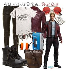 """""""A Day at the Park as... Peter Quill/Star-Lord"""" by disneygirl22 ❤ liked on Polyvore featuring Balmain, ZeroUV, VIPARO, Sony, DUBARRY, Marvel, London Road, disney, disneybound and DisneyWorld"""