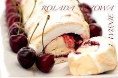 Beige roulade with cherries Cherries, Camembert Cheese, Goodies, Rolls, Sweets, Baking, Ethnic Recipes, Desserts, Beige