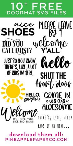 FREE Welcome Y'all SVG to make a DIY Doormat with your Cricut PLUS 10 MORE FREE DOORMAT SVGS at Pineapple Paper Co. #totallyfreesvg #cricut #diydoormat #cricutdoormat #svgfiles #svg #freesvg #doormatsvg Cricut Vinyl, Svg Files For Cricut, Cricut Craft, Cricut Ideas, Fall Doormat, Monogrammed Stationery, Happy Everything, Just So You Know, Papers Co