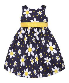Look at this Navy & Yellow Daisy Dress - Toddler & Girls on #zulily today!