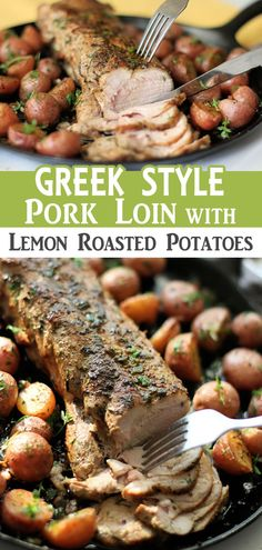 A roasted garlic and herb marinated pork loin filet is baked with fresh lemon, thyme, oregano and served with lemon roasted potatoes perfect for a quick and delicious weekday dinner in less than 30 minutes. Get the recipe! Pork Tenderloin Recipes, Pork Chop Recipes, Pork Loin, Meat Recipes, Dinner Recipes, Cooking Recipes, Amish Recipes, Cooking Tips, Lemon Roasted Potatoes