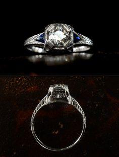 1920s Art Deco 0.49ct European Cut Diamond Ring18K White Gold, French Cut Sapphires (sold)