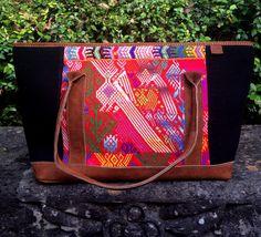 Natalia Tote Huipil Bag.www.frescofabrics.com Guatemalan Textiles, Leather Handle, Suede Leather, Messenger Bag, Satchel, Purses, Fresco, Fabrics, Handmade