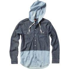 "Love Hooded Flannels --- Quiksilver Mens ""Left Foot"" Long Sleeve Shirt"
