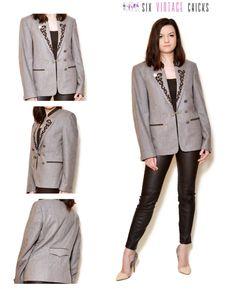 Wool Blazer/ 90s grey, Elegant style Jacket/ Vintage Woman's Clothing/ Size L/40 by SixVintageChicks on Etsy