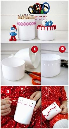 My DIY Projects: How To Make Embroidered Cans. Great way to introduce girls AND BOYS to a stitching project! upcycled plastic bottles into embroidered containers DIY Containers are empty bleach bottles, hole punched & embroidered. Do It Yourself Projects, Cool Diy Projects, Craft Projects, Craft Tutorials, Plastic Bottle Crafts, Plastic Bottles, Water Bottle Crafts, Plastic Containers, Plastik Recycling
