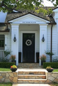exterior details- pillars and address