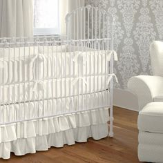 Crib Dust Ruffle in Solid Ivory by Carousel Designs.